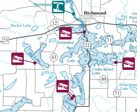 horseshoe chain of lakes map Boats For Sale Dealer Rental Richmond Chain Of Lakes Mn Westres horseshoe chain of lakes map